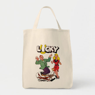 Lucky - Vintage Comic Book Cover Grocery Tote Bag