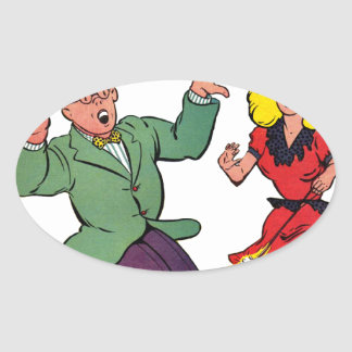 Lucky - Vintage Comic Book Cover Oval Stickers
