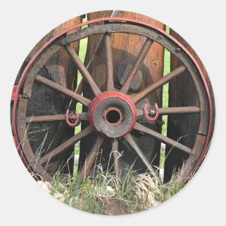 Lucky wagon wheel classic round sticker