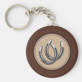 Lucky Western Silver Horseshoes Basic Round Button Keychain
