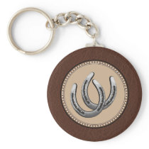 Lucky Western Silver Horseshoes Keychain