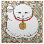 Lucky White Cat Cloth Napkins