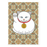 Lucky White Cat Postcards