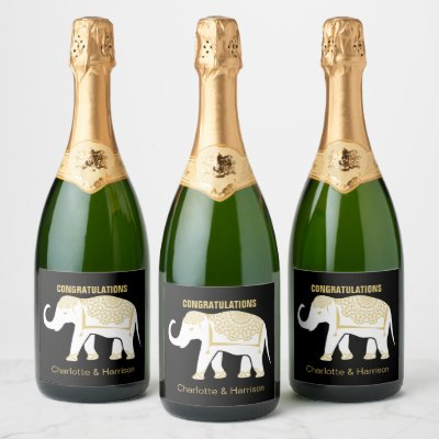 Lucky White Thai Elephant Personalized Champagne Label