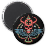 Lucky Winged Maltese Devil Skull of Spades 2 Inch Round Magnet