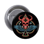 Lucky Winged Maltese Devil Skull of Spades 2 Inch Round Button