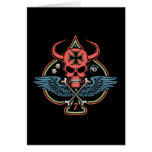 Lucky Winged Maltese Devil Skull of Spades Greeting Card