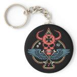 Lucky Winged Maltese Devil Skull of Spades Keychain