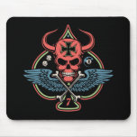 Lucky Winged Maltese Devil Skull of Spades Mouse Pad