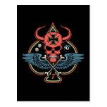 Lucky Winged Maltese Devil Skull of Spades Postcard