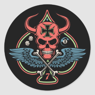Lucky Winged Maltese Devil Skull of Spades Classic Round Sticker