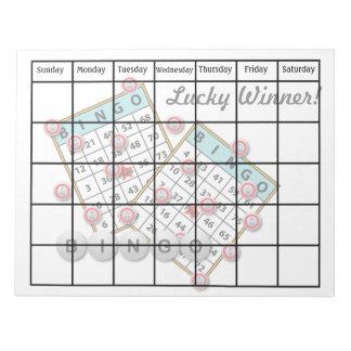Lucky Winner Bingo Theme Blank Calendar Notepad
