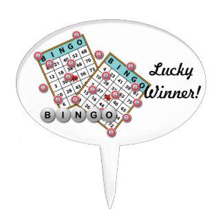 Lucky Winner Bingo Theme Cake Toppers