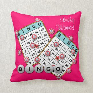 Lucky Winner Bingo Theme Throw Pillow