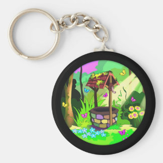 Lucky Wishing Well Butterflies Forest Magic Circle Keychain