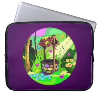 Lucky Wishing Well Magic Circle Butterfly Forest Computer Sleeve