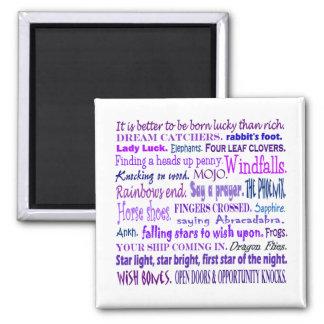 Lucky words collage for the fun of it 2 inch square magnet