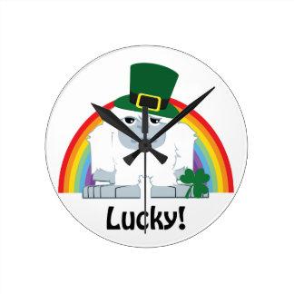 Lucky Yeti Leprechaun Round Clock
