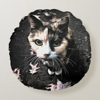 Lucy Cat Round Pillow