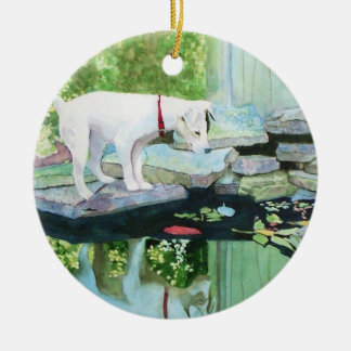 Lucy Jack Russell Terrier Adorno Navideño Redondo De Cerámica
