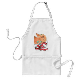 Lucy, Kitten, Loves Red Bows Adult Apron