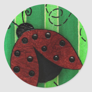 Lucy la mariquita - pegatinas del insecto pegatina redonda