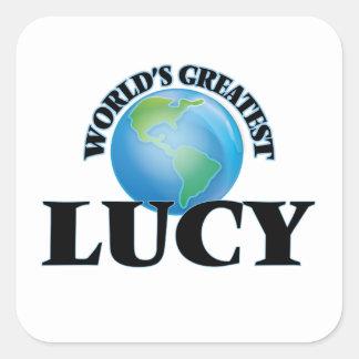 Lucy más grande del mundo calcomanía cuadradas personalizada