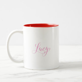 Lucy - Modern Calligraphy Name Design Two-Tone Coffee Mug