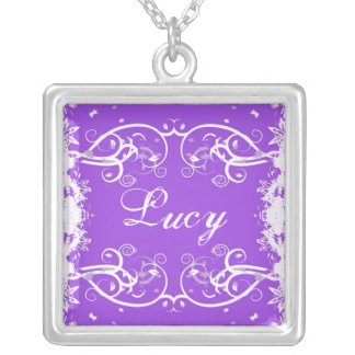 """Lucy"" on purple flourish swirls necklace"