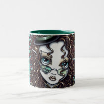 steampunk, steam, punk, victorian, gothic, hot, air, balloon, top, hat, fairy, gears, faery, faerie, fae, fairies, fantasy, clock, pocket, watch, gilded, ornate, brown, copper, bronze, feathers, myka, jelina, mika, dirigibles, Mug with custom graphic design