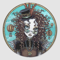 steampunk, steam, punk, victorian, gothic, hot, air, balloon, top, hat, fairy, gears, faery, faerie, fae, fairies, fantasy, clock, pocket, watch, gilded, ornate, brown, copper, bronze, feathers, myka, jelina, mika, balloons, Sticker with custom graphic design