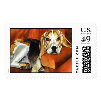 Lucy The Beagle Postage Stamp