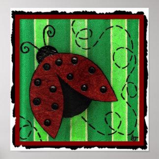 Lucy the Ladybug - folk art print