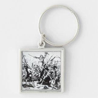 Luddite Rioters, 1811-12 Silver-Colored Square Keychain