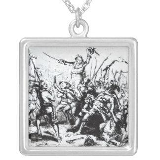 Luddite Rioters, 1811-12 Square Pendant Necklace