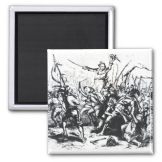 Luddite Rioters 2 Inch Square Magnet