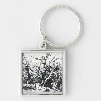 Luddite Rioters Silver-Colored Square Keychain