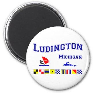 Ludington MI Signal Flags 2 Inch Round Magnet