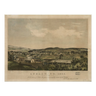Ludlow Vermont 1859 Antique Panoramic Map Poster