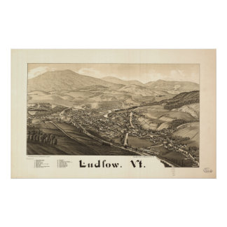 Ludlow Vermont 1885 Antique Panoramic Map Print
