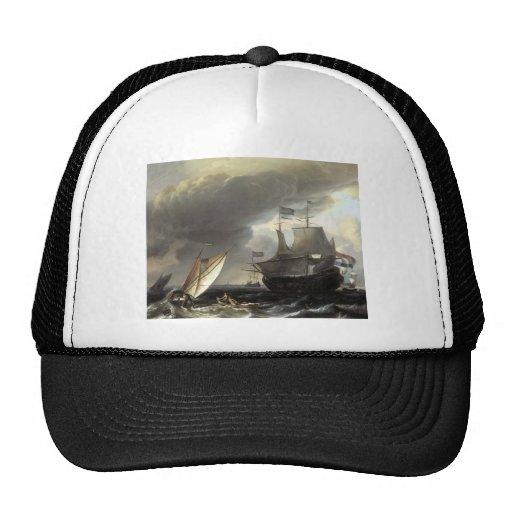 Ludolf Bakhuizen Dutch Vessels on a Stormy Sea Mesh Hat