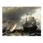 Ludolf Bakhuizen Dutch Vessels on a Stormy Sea Postcards