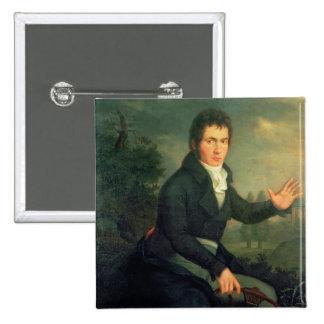 Ludvig van Beethoven, 1804 Pin Cuadrada 5 Cm