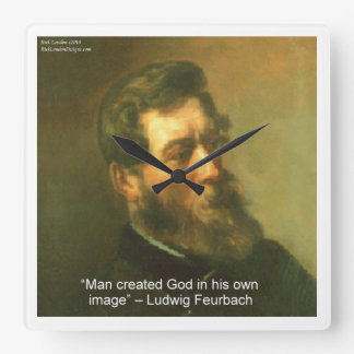 Ludwig Feurbach & Atheist Quote Wall Clock