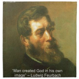 Ludwig Feurbach & Man Created God Quote Napkin