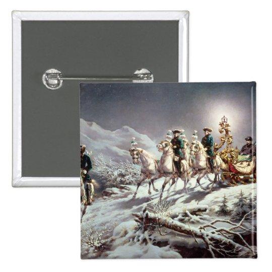 Ludwig II  of Bavaria Sleighing at Night Pinback Button