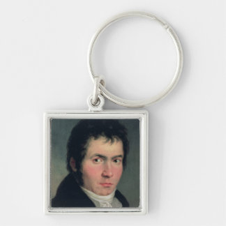 Ludwig van Beethoven , 1804 Silver-Colored Square Keychain
