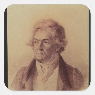 Ludwig van Beethoven, 1824 Pegatina Cuadrada