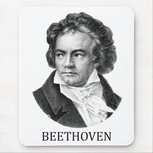 Ludwig van Beethoven, black Mouse Pads