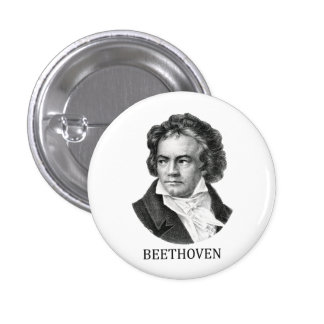 Ludwig van Beethoven, black Pinback Button